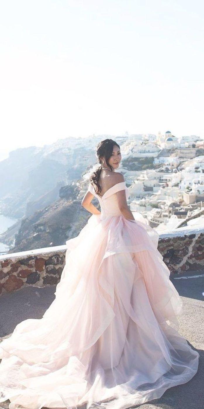 33 Pretty Pink Wedding Dresses For Your Wedding Weddings Pink Wedding Dresses Wedding Dresses Blush Peach Blush Wedding Dress