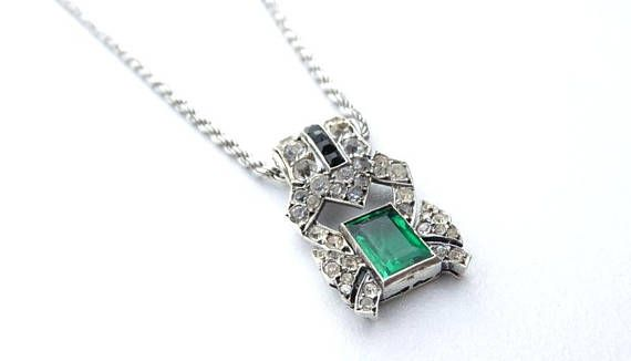 Art Deco Necklace Sterling Silver Vintage Green and Black