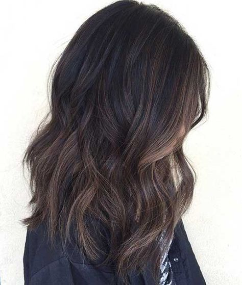 Soft Balayage Highlight Dark Hair
