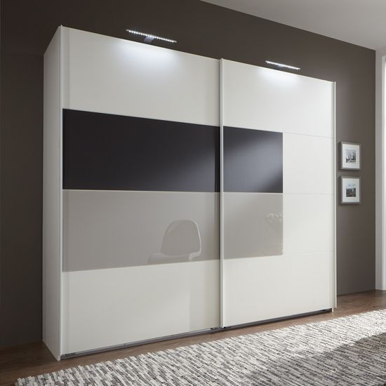 Cairo Sliding Wardrobe,Alpine Wood With Sahara Grey Glass Insert  £649.95  Dimensions:  The overall dimensions of the Wardrobe W225 x H210x D65cm