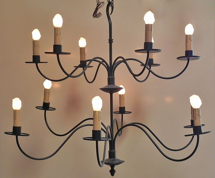 Two-Tier Black Metal Chandelier - 12 Lights