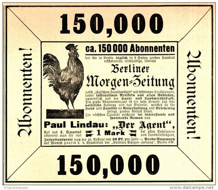 Original-Werbung/ Anzeige 1898 - BERLINER MORGEN-ZEITUNG - MOTIV HAHN - ca. 140…