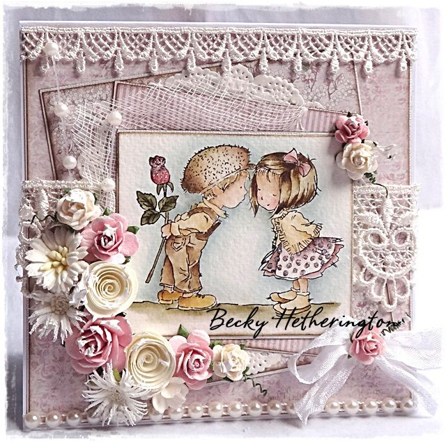handmade card ... Cards By Becky: Close Your Eyes ... adorable image ... great watercolor technique with Distress Markers ... shabby chic ... gorgeous lace ... shabby seam binding ... artificial flowers ... rosy lavender ... fantastic card!!!