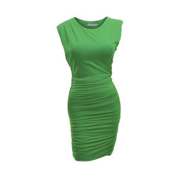 Doublju Classic Slim Fit Sleeveless Sexy Bodycon Dress For Women With... ❤ liked on Polyvore featuring dresses, plus size dresses, sexy cocktail dresses, plus size slimming dresses, green bodycon dress and body con dress
