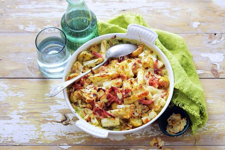 Kijk wat een lekker recept ik heb gevonden op Allerhande! Romige asperge-aardappelgratin