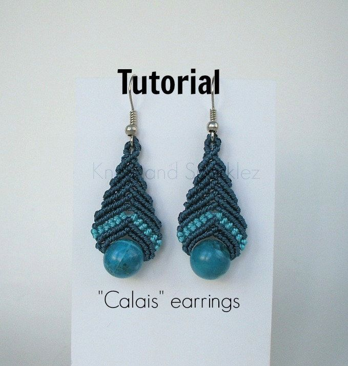 Earrings tutorial, macrame pattern, macrame earrings, macrame instructions, earrings instructions, Do it yourself, jewelry tutorial, by KNOTSANDSPARKLEZ on Etsy