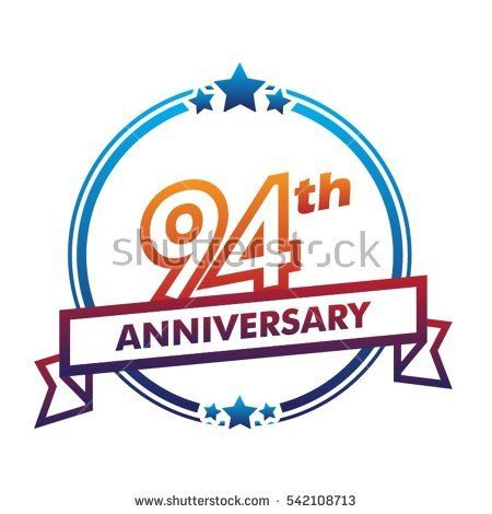blue circle and star with purple ribbon 94th anniversary design vector