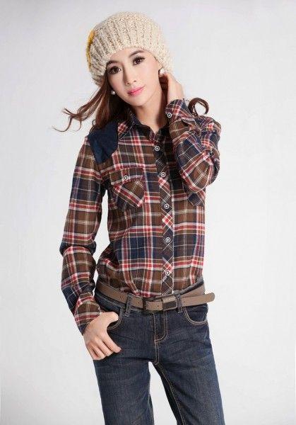 Women Fashion Imitation Leather Leisure Plaid Blouse