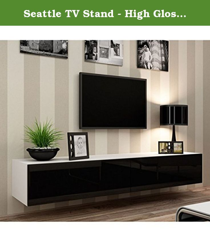 "Seattle TV Stand - High Gloss White TV Stand / European Design Hanging Furniture / Entertainment Center Unit / Central Tv Unit (Black & White). Central TV Stand for modern homes. High capacity TV stand model with drop down doors. Seattle TV Unit Dimensions: Height - 30 cm - 11,8"" Width - 180 cm / 70,9"" Depth - 42 cm / 16,5"" - Available: Width - 160 cm / 63,0"" Width - 140 cm/ 55,1"" - TV cabinet - 30/180/42 cm - 11,8""/70,9""/16,5"" two fronts in gloss, door open system ""PUSH-CLICK"", inside 2..."