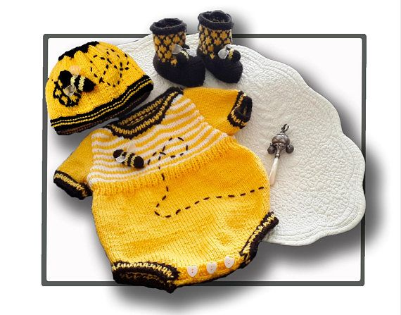 Honey Bee Romper Booeties and Beanie https://www.etsy.com/listing/589892170/honey-bee-romper-booeties-and-beanie    also the pattern can be found at www.tbeecosy.com