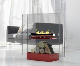 Cheminée bio ethanol en acier peint brillant rouge Kubic 1 foyer