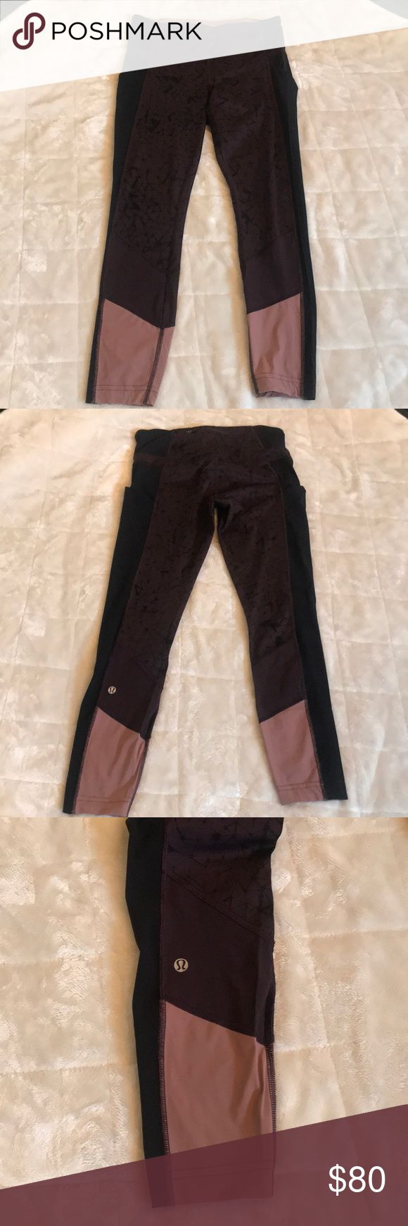 🍋Lululemon🍋 Speed 7/8 Tights 🌟EUC🌟Size 6 Full on Luxtreme. Very rare pattern and style.                        🖤DISCONTINUED🖤 2 side pockets, 2 front hidden key pockets and back zipper pocket. No holes, pilling, stains or seams unraveling. These are in perfect condition. Always washed to Lulu specs and hung dry. Non smoking home.  All of my 🍋Lululemon🍋sales include a FREE brand new red tote bag 🛍You choose small or large❤️ lululemon athletica Pants Leggings