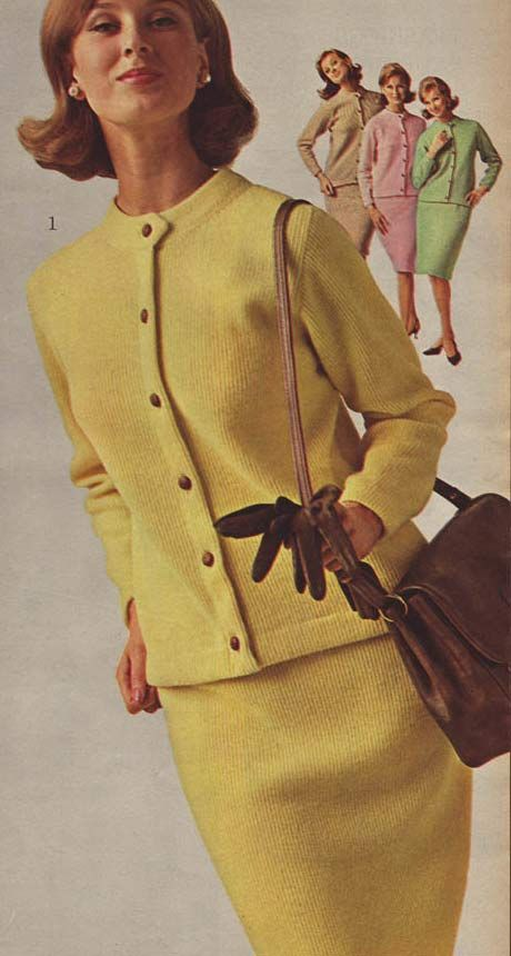 Vintage Women's Ribbed Knit Suit Dresses from a 1964 catalog.