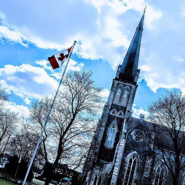 Flag #139 of 150 taken at a #Church in #Cambridge  Ontario for my #Canada150 photos. . . . . . #cbridge #cambridgeontario #galtlove #galt #canada #ontario #photography #filter #bluesky #steeple