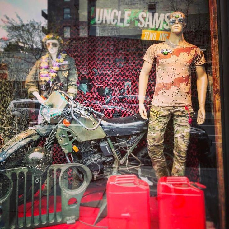 #dirtbike and #jeep on #display at #army #navy #surplus #store in #nyc #manhattan #motorcycles #bikes and #babes #gas #Braap #dualsport #offroad #military #bikelife #moto #machine #yamaha #honda #kawasaki #suzuki