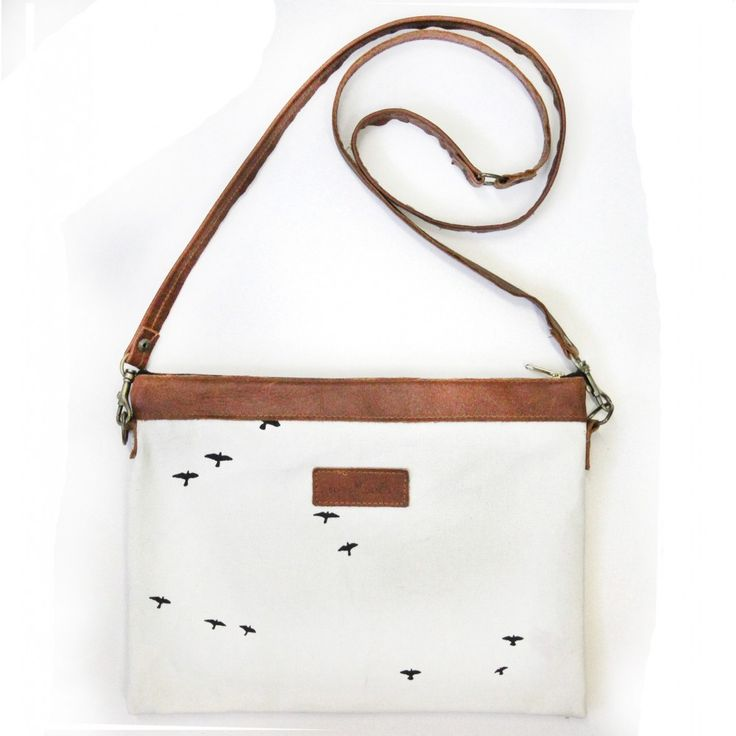 Sling bag, cotton canvas with leather handles