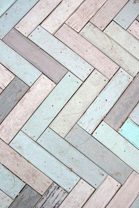 Colourful Herringbone parquet wood floor