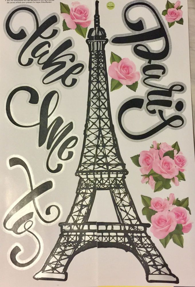 TAKE ME TO PARIS wall stickers 11 decals wall decor EIFFEL TOWER flowers #MainStreet