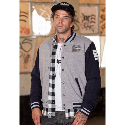 Lads of Fortune Grey Marle and Black Varsity Bomber. Buy @ http://thehubmarketplace.com/varsity-jacket-bomber-grey-black-american-college