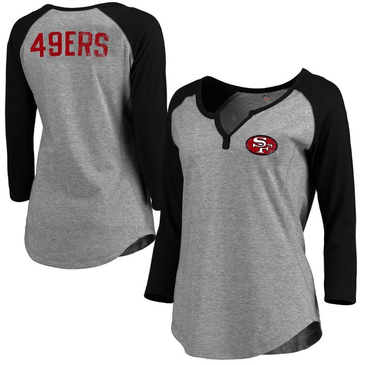 Women's San Francisco 49ers Pro Line Gray Philips Henley 3/4-Sleeve T-Shirt