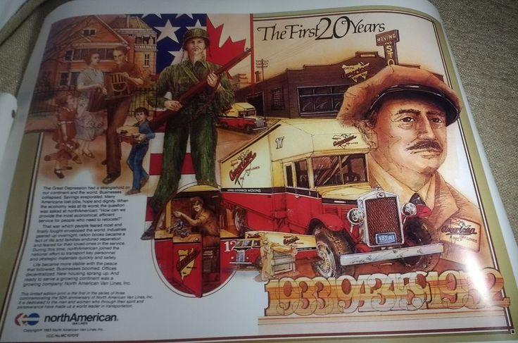 "north American Van Lines Anniversary Prints 1983 set of 3 16""x20"" unframed truck"