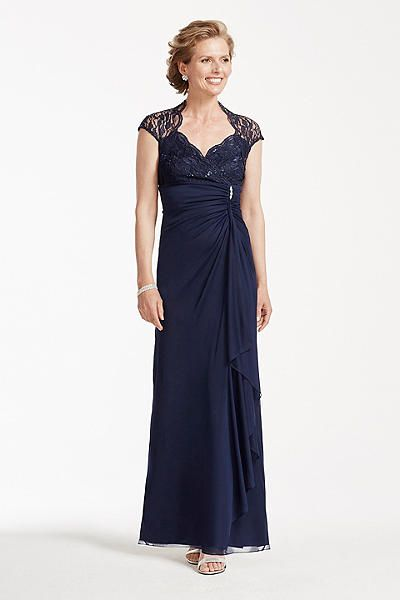 Long Mesh Dress with Lace Bodice and Cap Sleeves 644588D