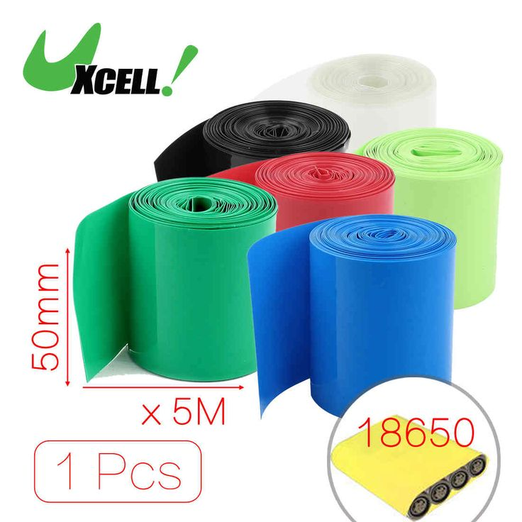 Uxcell 5Meters 50Mm Width Pvc Heat Shrink Wrap Tube Red For 2 X 18650 Battery . | black | blue | clear | green | grren | red