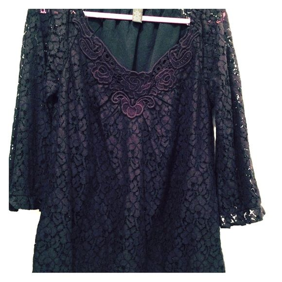Black lace blouse Black lace top with embroidered neckline. Lace bell sleeves. Style & Co Tops Blouses