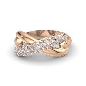 Infinity Knot Ring. 14K Rose Gold Ring with Diamond #gemvara