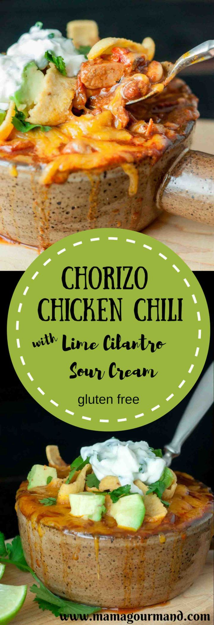 A Chorizo Chicken Chili with Lime Cilantro Sour Cream recipe and tons of useful tips on how to win a chili cook-off or just make an extraordinary chili http://www.mamagourmand.com