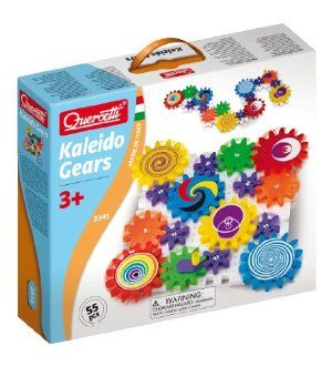 Quercetti Georello Kaleido Gears, 55 pieces by International Playthings. $34.95. Includes gears in 3 sizes. Movable base, to create unique shapes. There are 55 piece set with interlocking plates and decorated meshing gears. Made in Italy. Ages 3 and above. From the Manufacturer With 60 years of experience creating educational toys, Quercetti has contributed to generations of children engaging in beneficial play that encourages creativity and stimula...