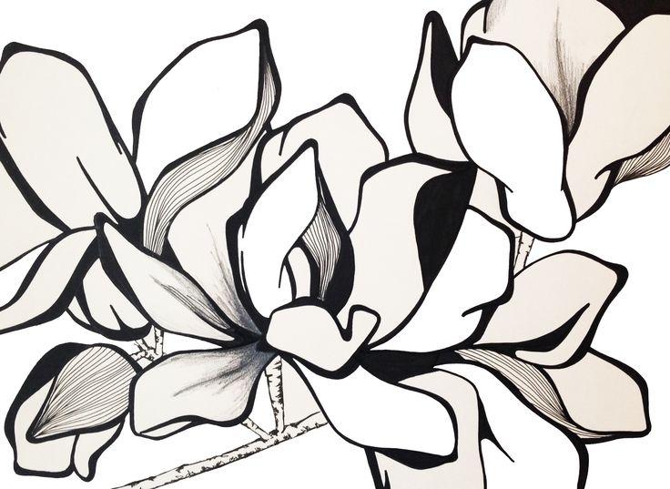 Magnolia Inspiration illustration, liner&marker drawing, sketch