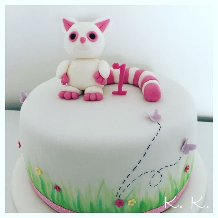 Birthday fondant cake for baby girl