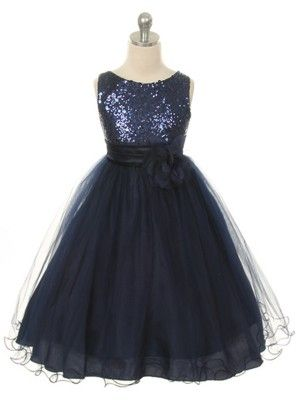 Navy Sequined Bodice with Double Tulle Skirt Flower Girl Dress (Sizes 2-14 in 7 Colors)