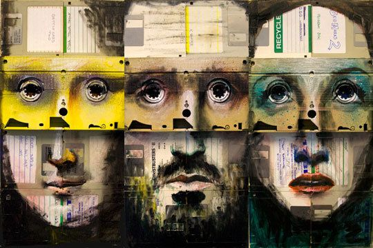 collage: Nick Gentri, Floppy Disk, Collage Art, Vhs Tape, Mixed Mediapaintingscollagen, Collage Paintings, 3D Art, Mixed Paintings, Disk Art