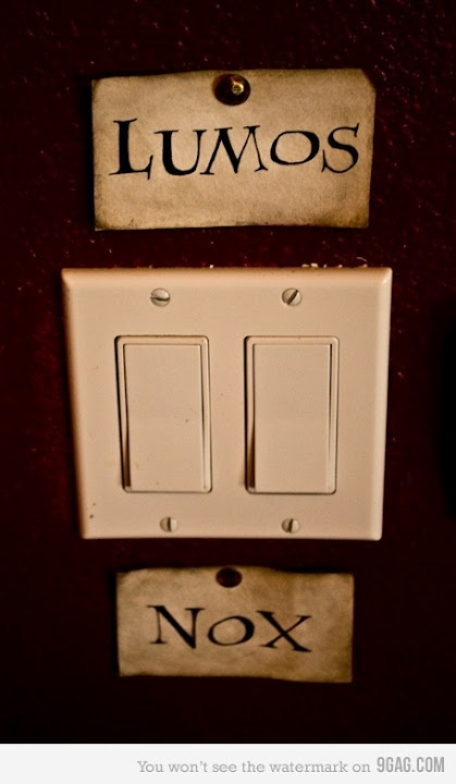 I mutter Lumos sometimes when turning on lights. Or incendio when I turn on my fireplace
