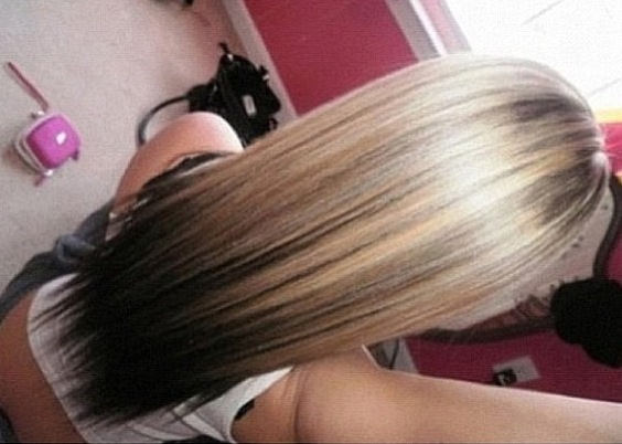 Brown hair with blonde highlights on bottom