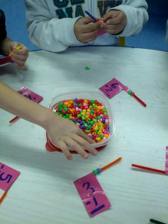Heart bead subtraction game. So fun and easy!