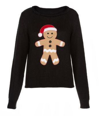 Black Gingerbread Man Christmas Jumper