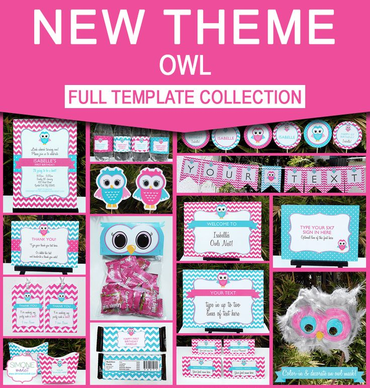 Instantly download these Owl Party printables. Includes Invitations & Decorations. Personalize at home & get your Owl Birthday Party started now!