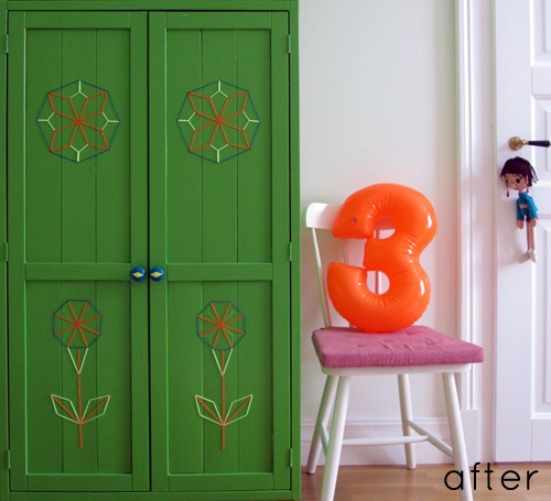 yarn art make-over! http://laloleblog.blogspot.com.au/2012/02/hazte-un-armario-muy-folky.html: Old Furniture, Wood Furniture, Closets Design, Kids Room, Girls Room, Embroidered Wardrobes, Ikea Hacks, Storage Ideas, Diy