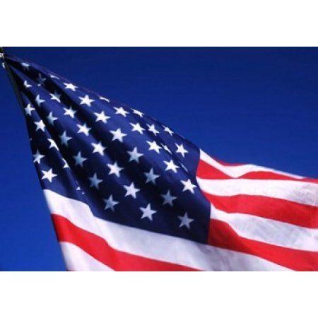 American Flag Waving in the Wind Canvas Art - Bill Bachmann DanitaDelimont (36 x 24)