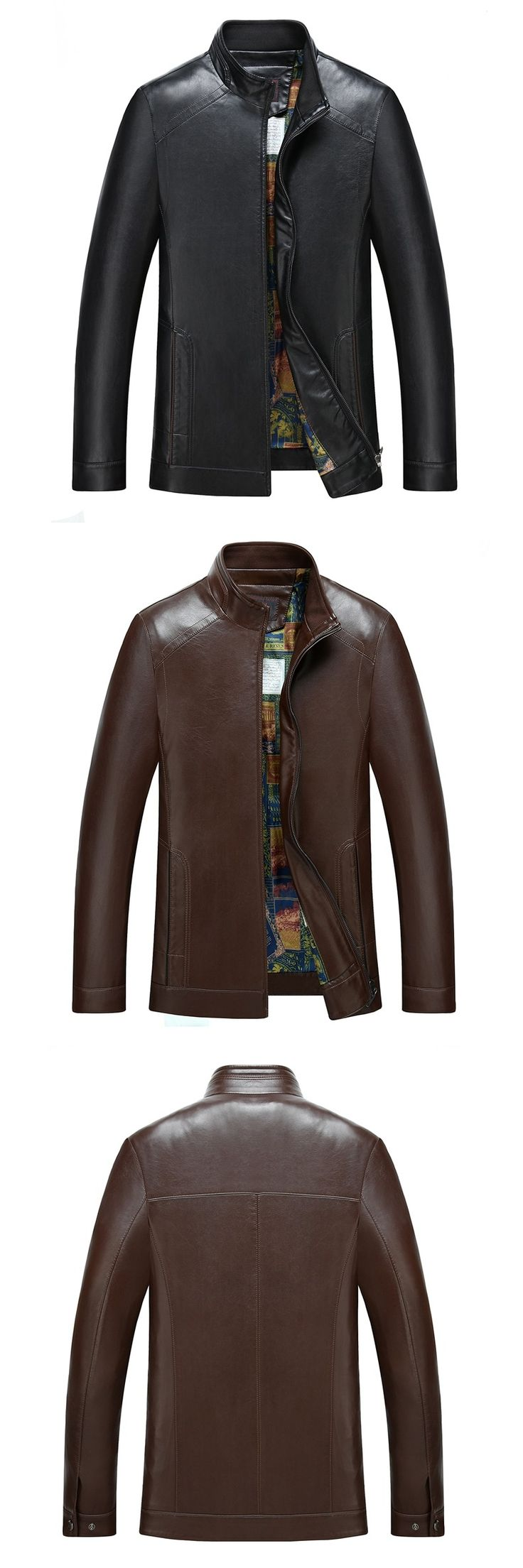 Punk Leather Jacket Men's Fashion Trends Male Leather Jacket  Leisure To Increase The Size Of The Business Mens Winter Leather
