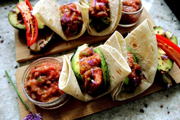 Eat My Thoughts: Avocado & Aubergine Wraps with Rhubarb Salsa