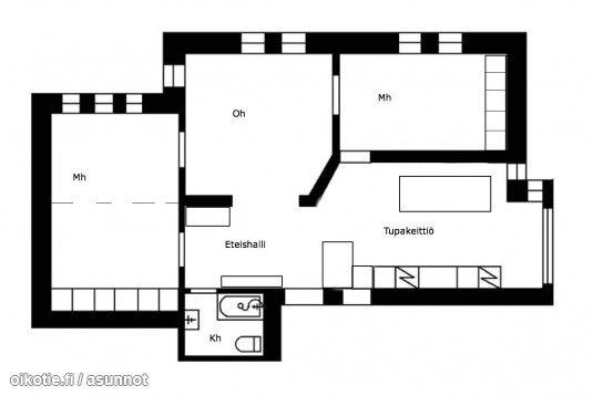 3-4 rooms with a big kitchen (86m2) /3-4 h isolla avokeittiöllä (86m2) #pohjapiirros
