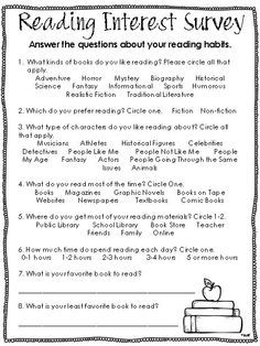 Best 25+ Reading interest survey ideas on Pinterest