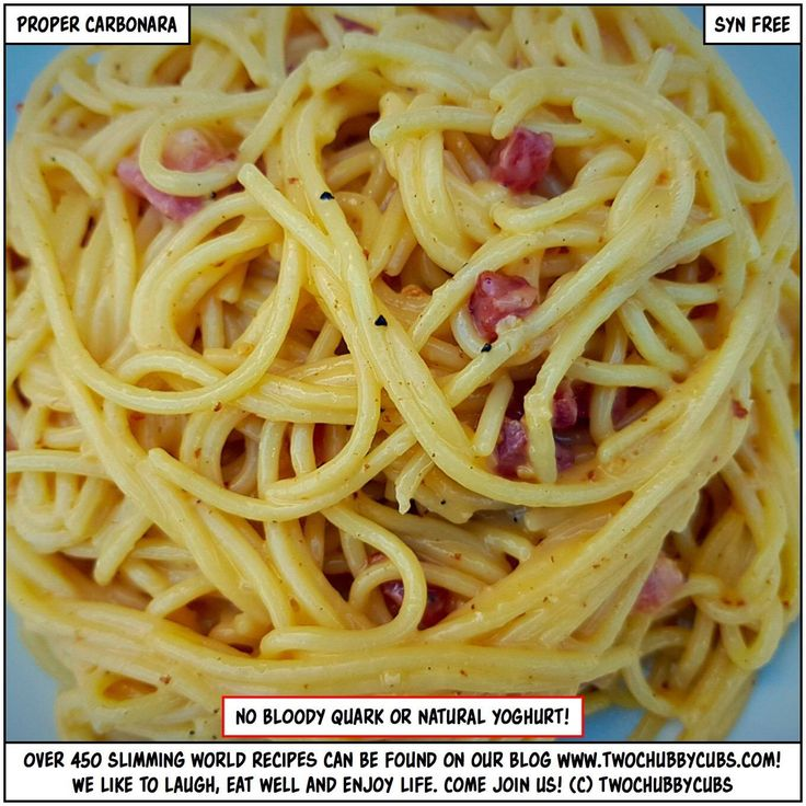PLEASE LIKE, LOVE AND SHARE! No more carbonara made with silly ingredients! This is perfect, tasty, gorgeous Slimming World carbonara, made with proper ingredients and SYN FREE! Tonnes more Slimming World meals - over 440 at the last count - all sorted by syn and ingredient. Plus: we're pretty funny, apparently. Come and see!