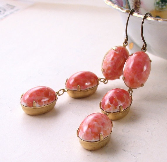 Earrings with vintage Coraline Peach art glass ~ perfect for summer days!
