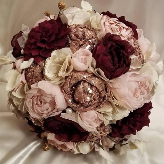 Rose Gold Sequin Blush And Burgundy Fabric Bouquet Rosegoldrings Gold And Burgundy Wedding Fabric Bouquet Burgundy Bouquet