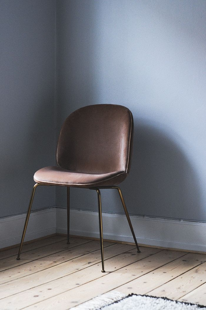 Gorgeous Dusty Rose Velvet Upholster Dining Chair With Brass Legs The Gubi Beetle Furnish